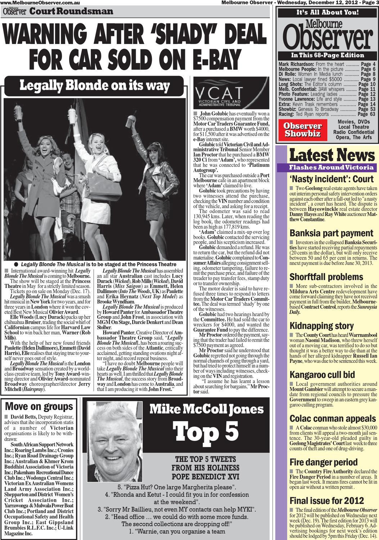 Melbourne Observer  121212A  December 12, 2012  Part A  Pages 1-16