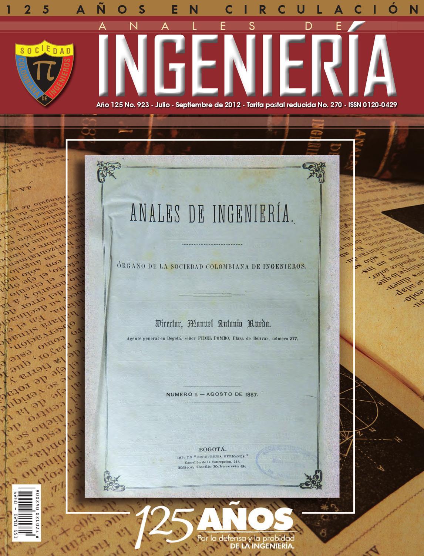 Anales de Ingeniería edición 923 by SOCIEDAD COLOMBIANA DE ...