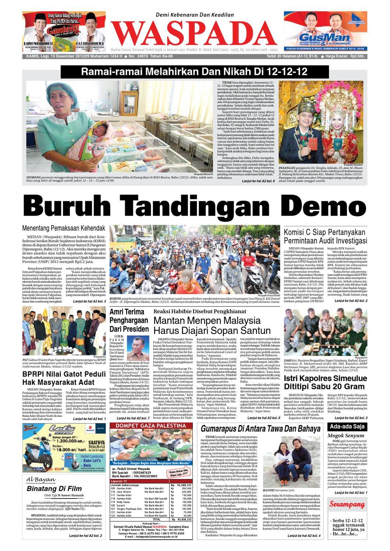 Waspada Kamis 13 Desember 2012 By Harian Issuu Produk Ukm Bumn Batik Tulis Babon Angrem