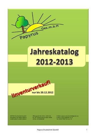 Katalog Papyrus 2012 2013 Inventurverkauf By Wolfgang