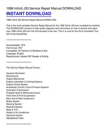 1996 infiniti j30 service repair manual download by donald wilson rh issuu com 1993 Infiniti J30 1993 Infiniti J30