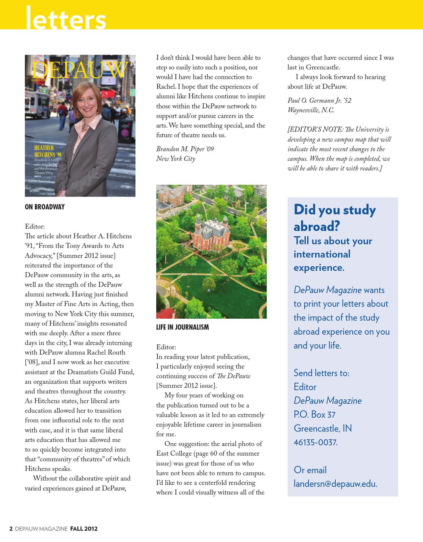 Depauw Magazine Fall 2012 By Depauw University Publications Issuu