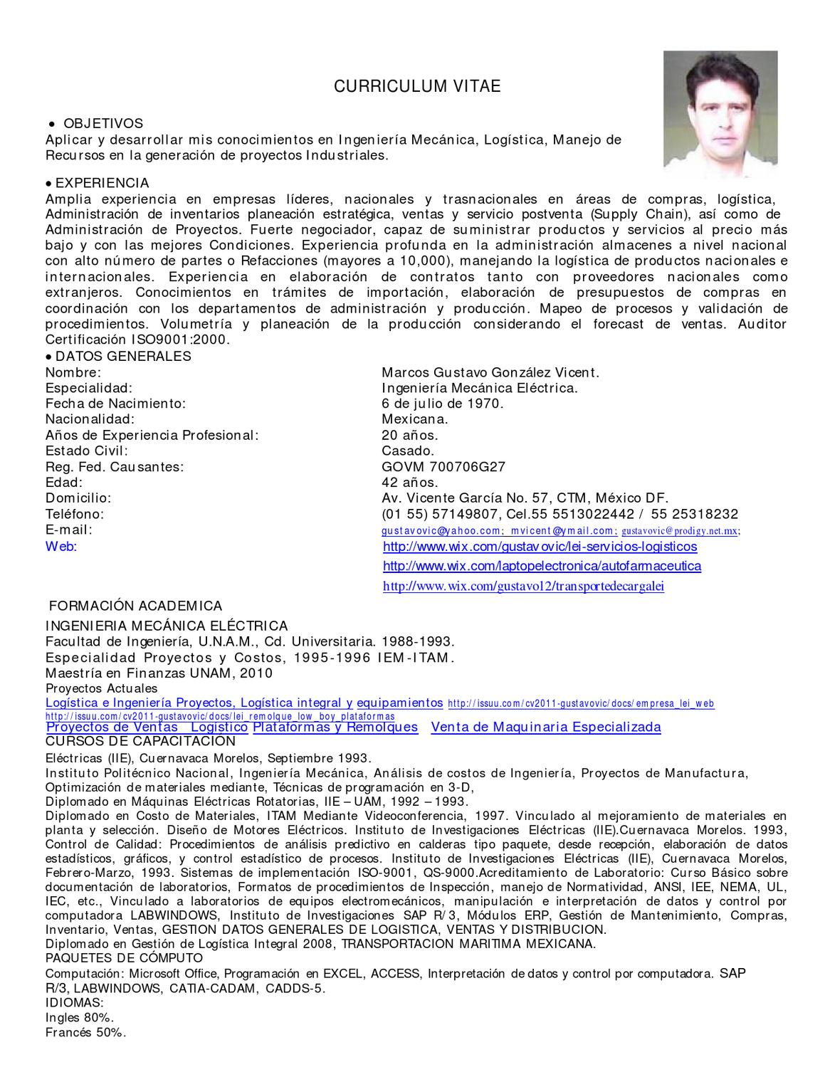 Curriculum Vitae by Gustavo Vicent G - issuu