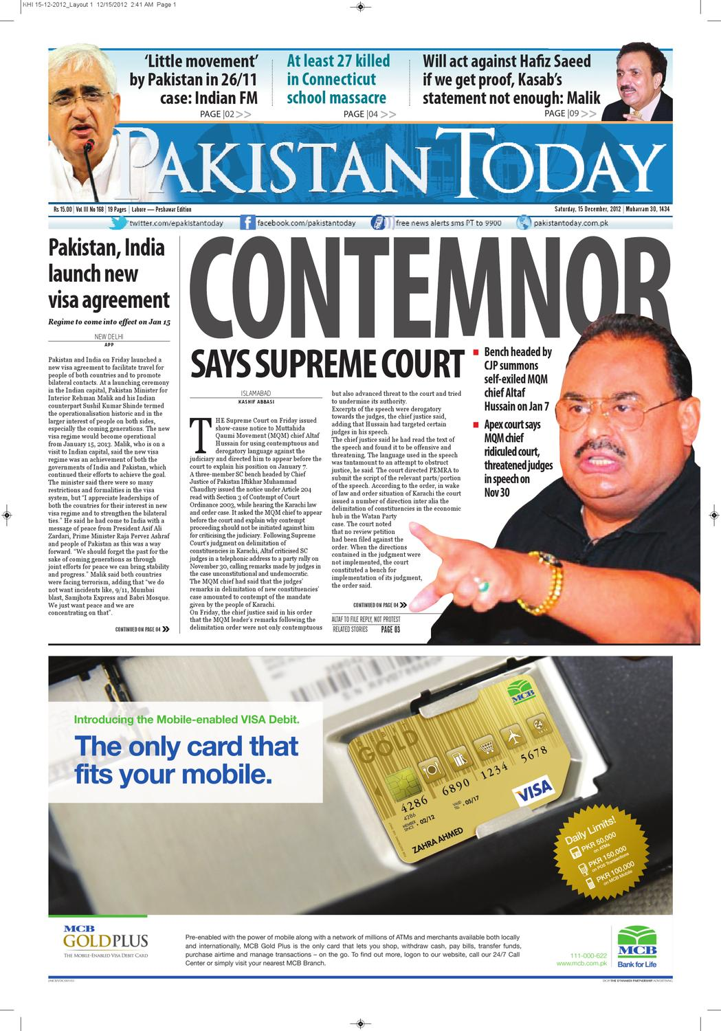E-paper Pakistan Today 15th December, 2012 by Pakistan Today