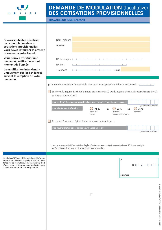 Demande De Modulation Des Cotisations Provisionnelles By Broshuri