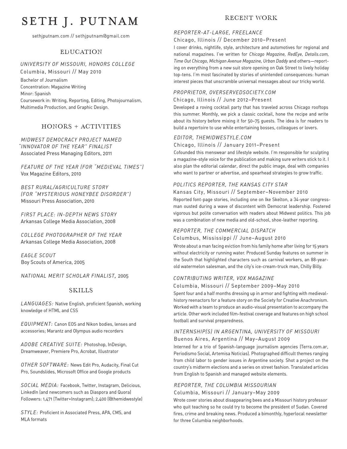 seth j  putnam u0026 39 s resume by seth putnam