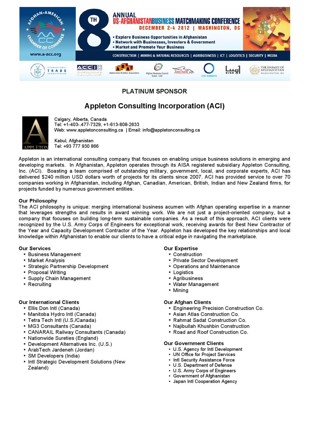 BMC 2012 Sponsors Company Profile by Afghan-American Chamber