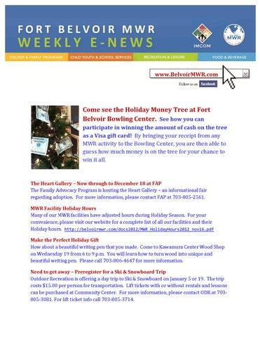 Fort Belvoir Mwr Weekly Newsletter Dec 17