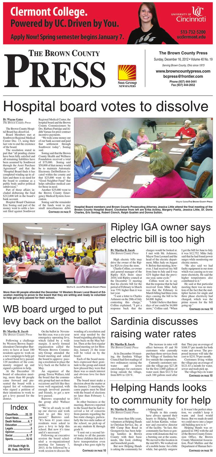 Ohio brown county sardinia - The Brown County Press December 16 2012 By Clermont Sun Publishing Company Issuu