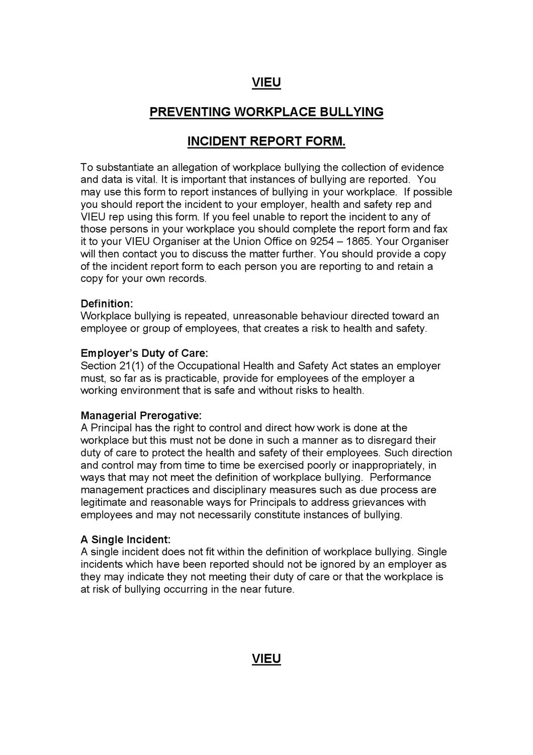 Amazing Workplace Incident Report Template Contemporary ...