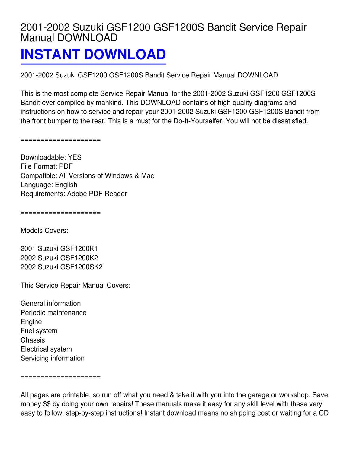 2001-2002 Suzuki GSF1200 GSF1200S Bandit Service Repair Manual DOWNLOAD by  Elizabeth Edwards - issuu