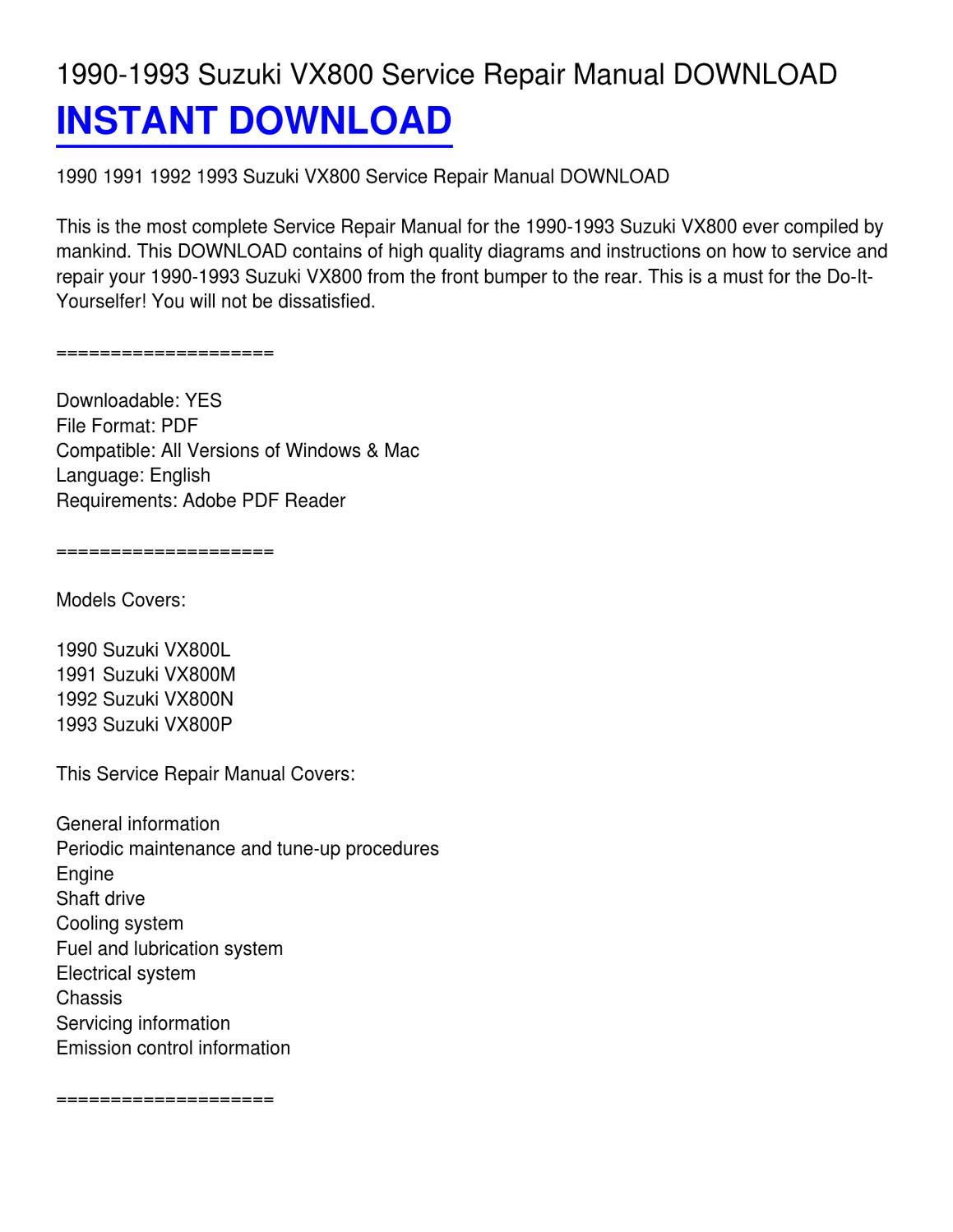 1990 1993 Suzuki Vx800 Service Repair Manual Download By Michael Peck Issuu