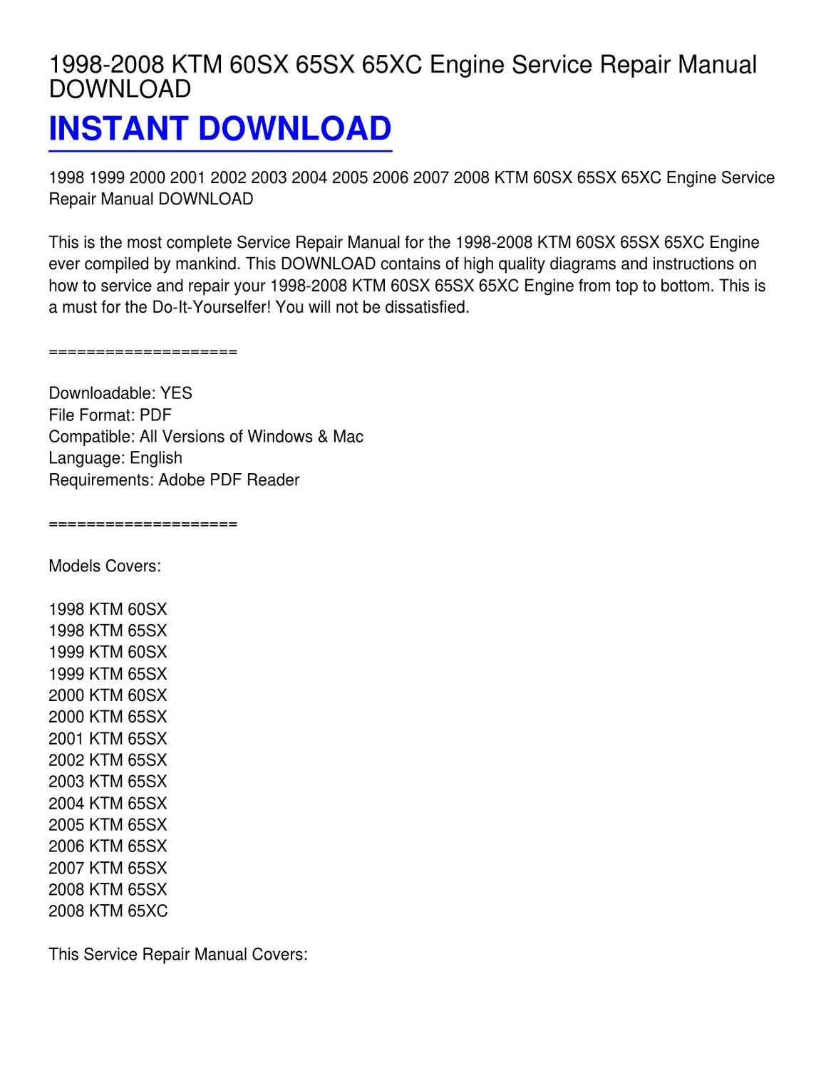1998 Ktm Wiring Diagrams Explained 99 Diagram 2008 60sx 65sx 65xc Engine Service Repair Manual Download Mahindra Tractor Ignition
