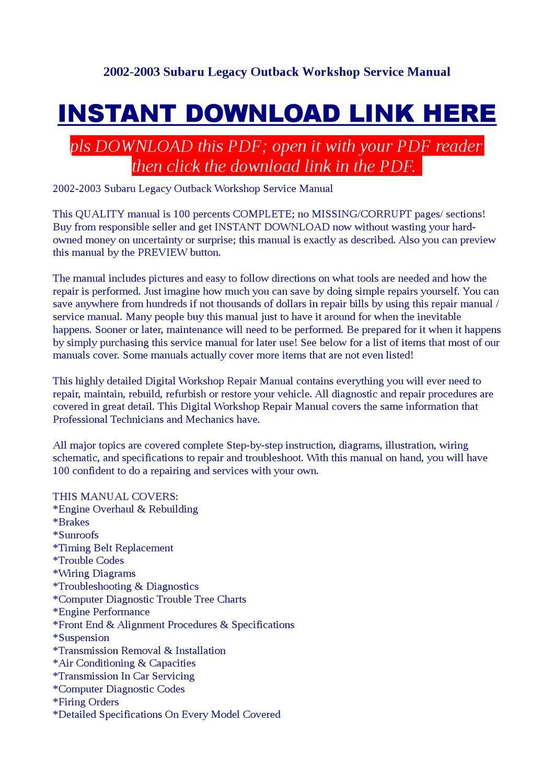 2002 2003 Subaru Legacy Outback Workshop Service Manual By Vorrax Engine Diagram Issuu