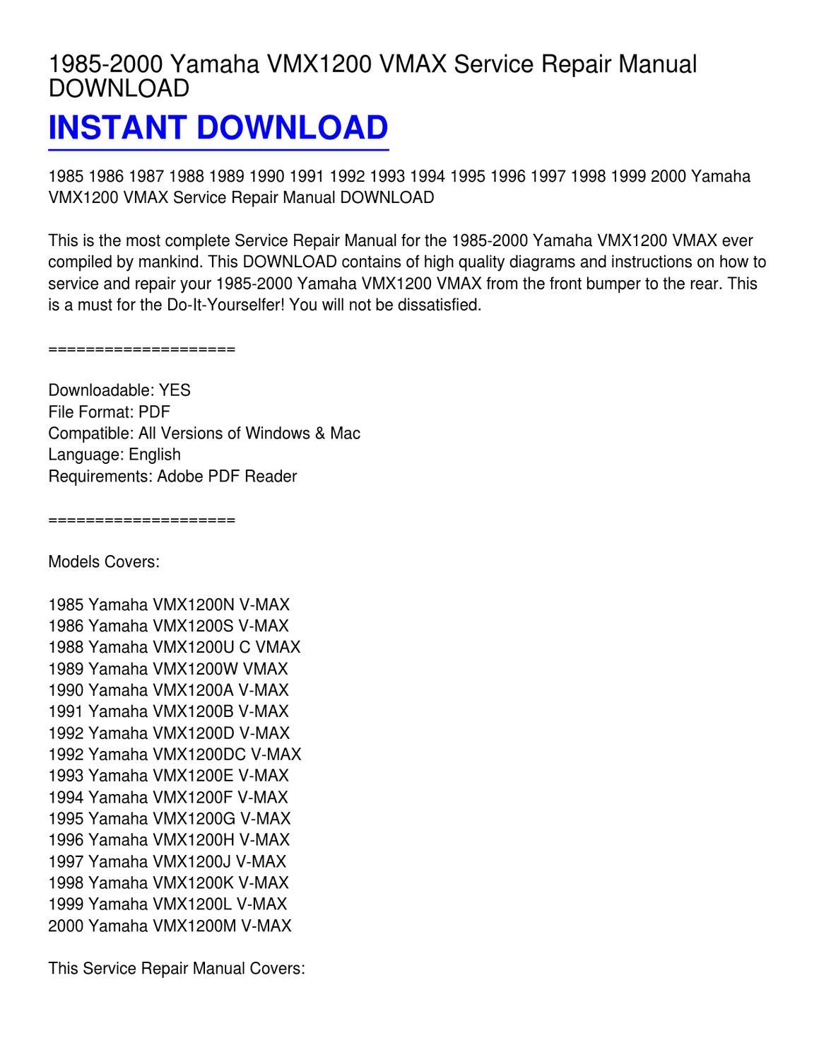 1985-2000 Yamaha VMX1200 VMAX Service Repair Manual DOWNLOAD by James  Shelton - issuu