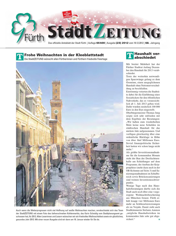 StadtZeitung, Nr. 23, vom 19. Dezember 2012 by Christian Scharvogel ...