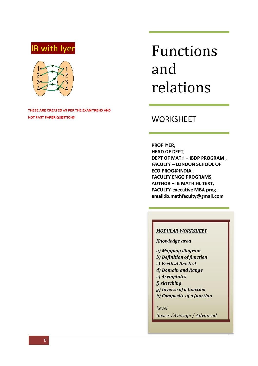 Functions And Relations Modular Ws By Prof Sriraman Iyer Issuu