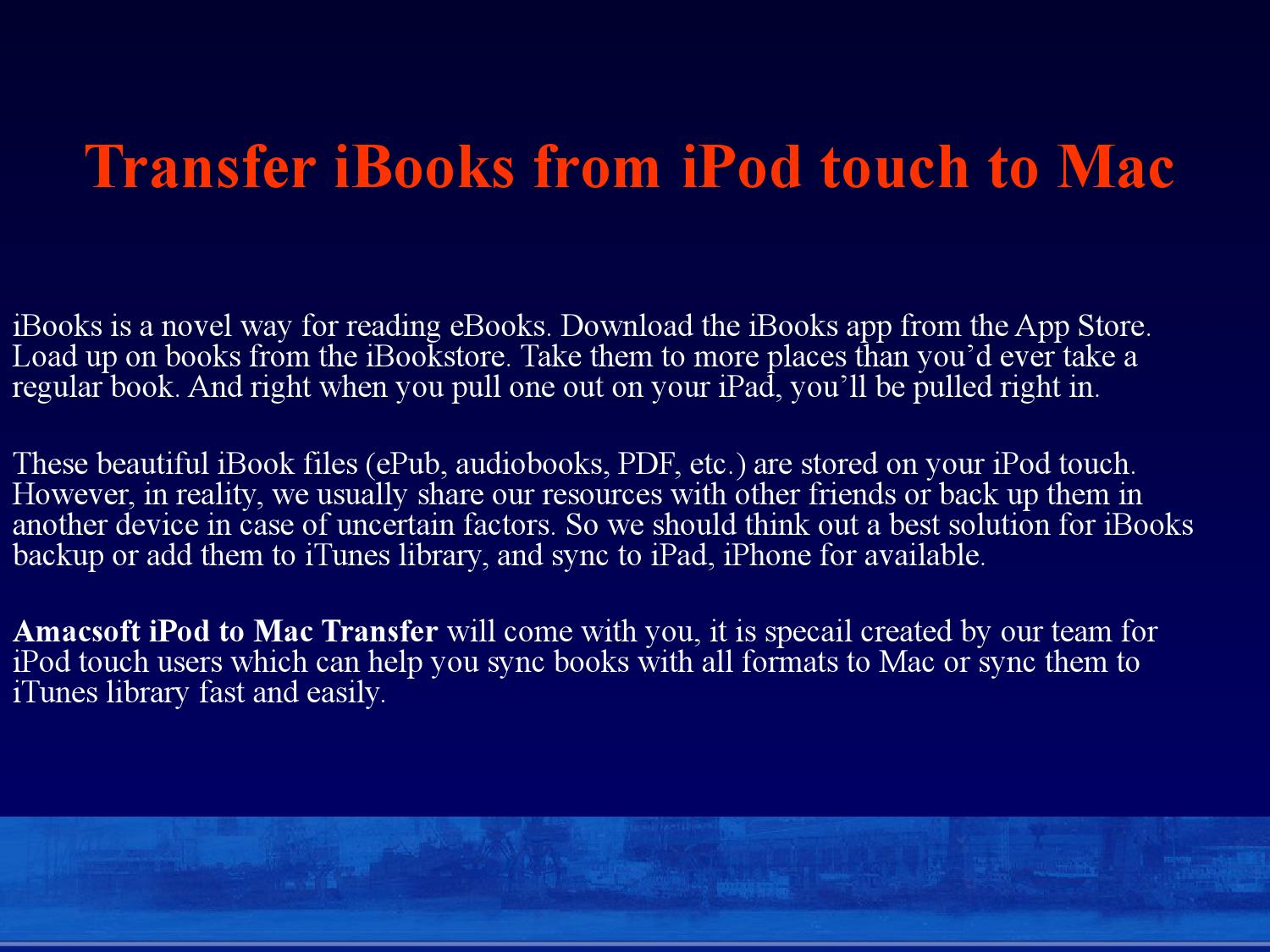 Transfer iBooks from iPod touch to Mac by brown sophie - issuu