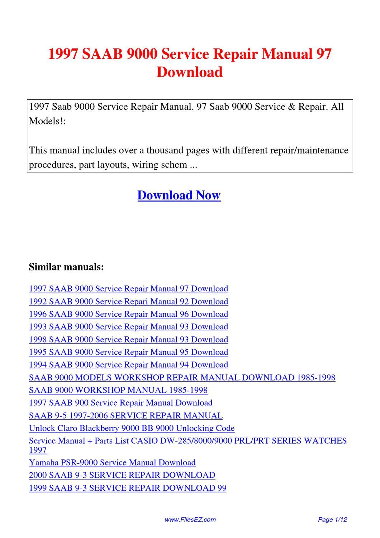 1997 Saab 9000 Service Repair Manual 97 By David Nan Issuu border=