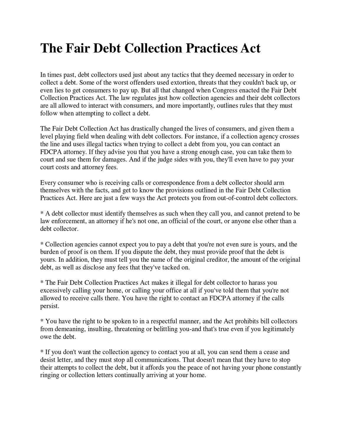 The fair debt collection practices act by jeffrey cancilla issuu spiritdancerdesigns Images
