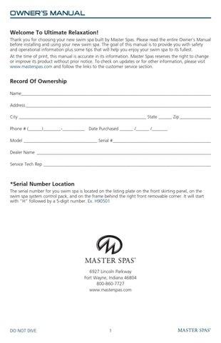mp swim spa master spas owners manual by master spa parts issuu rh issuu com Sunrise Spa Wyomissing PA Sunrise Spa Wyomissing PA