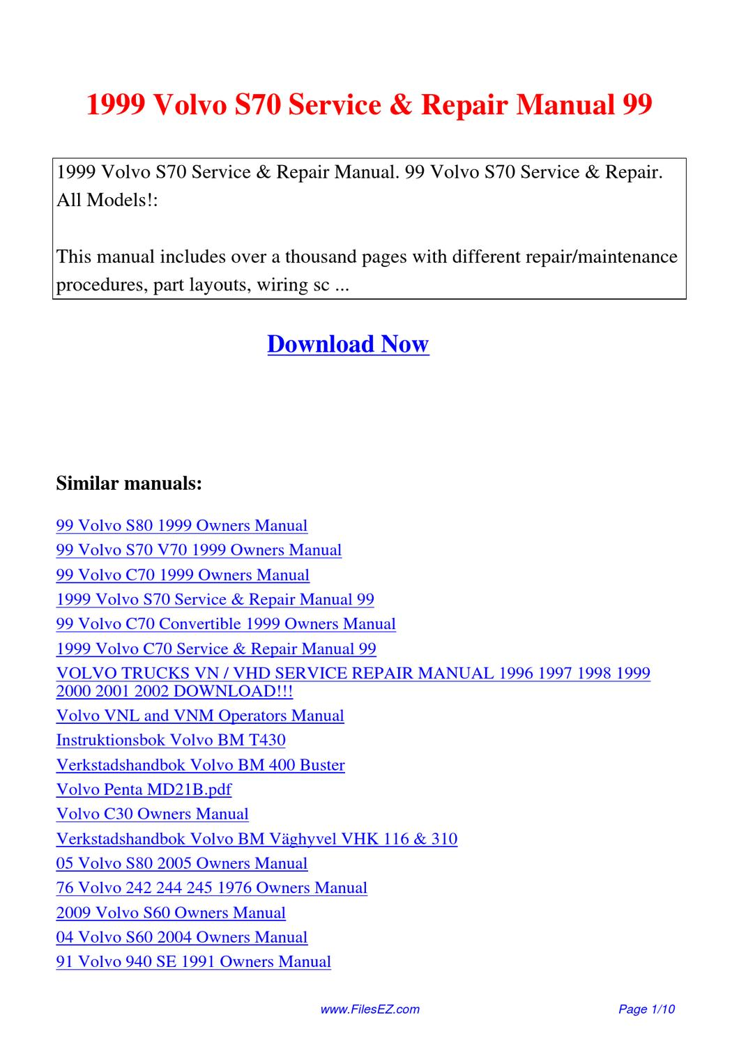 1999 Volvo S70 Service Repair Manual 99 By David Nan