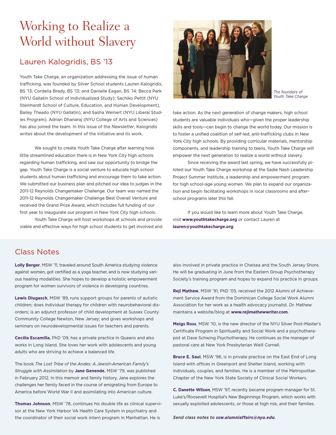 Nyu Silver Fall 2012 Newsletter By Nyu Silver School Of Social Work