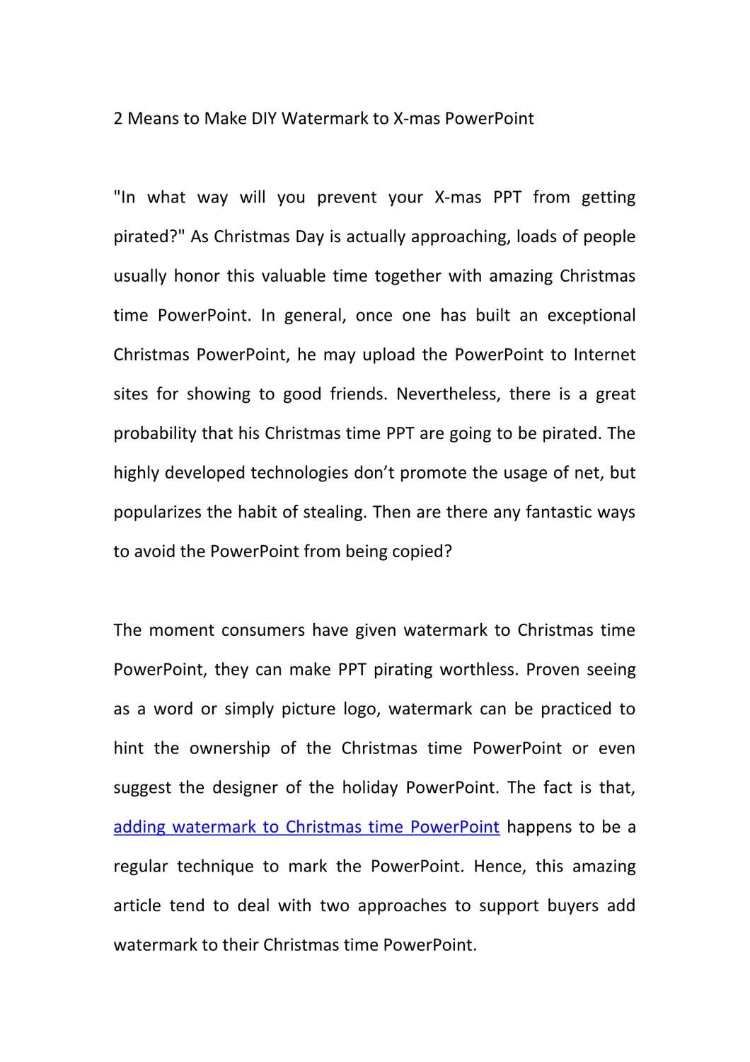 2 Means To Make Diy Watermark To X Mas Powerpoint By Gary Pang Issuu
