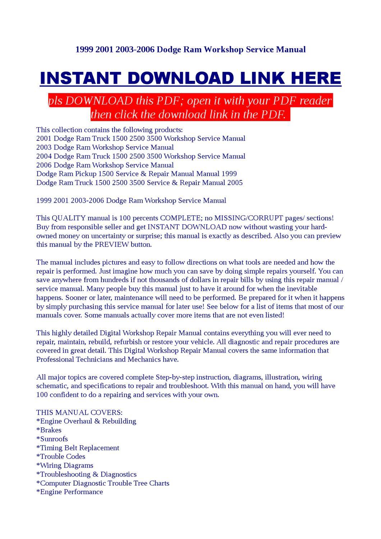 1999 2001 2003-2006 Dodge Ram Workshop Service Manual by Vorrax Vorrax -  issuu