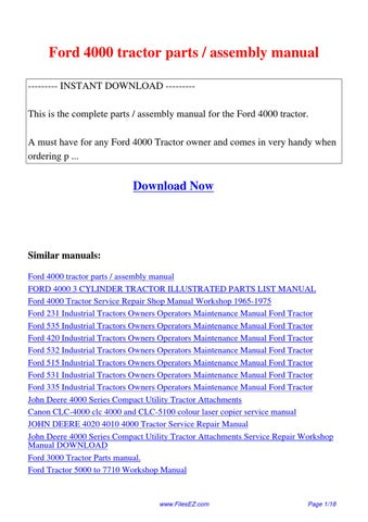 Ford4000tractorpartsassemblymanual by david nan issuu ford 4000 tractor parts assembly manual instant download this is the complete parts assembly manual for the ford 4000 tractor fandeluxe Choice Image