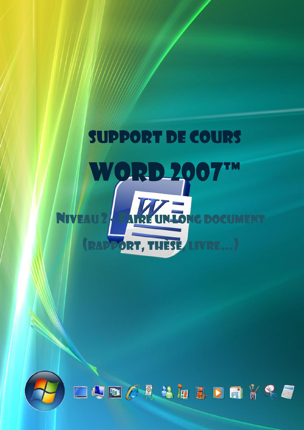 cours word 2007 2 u00e8me niveau  les longs documents  le mod u00e8le by joel green