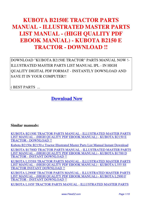 kubota b2150e tractor parts manual