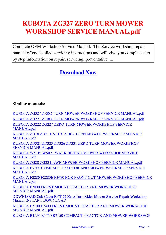 Kubota Zg327 Zero Turn Mower Workshop Service Manual Pdf