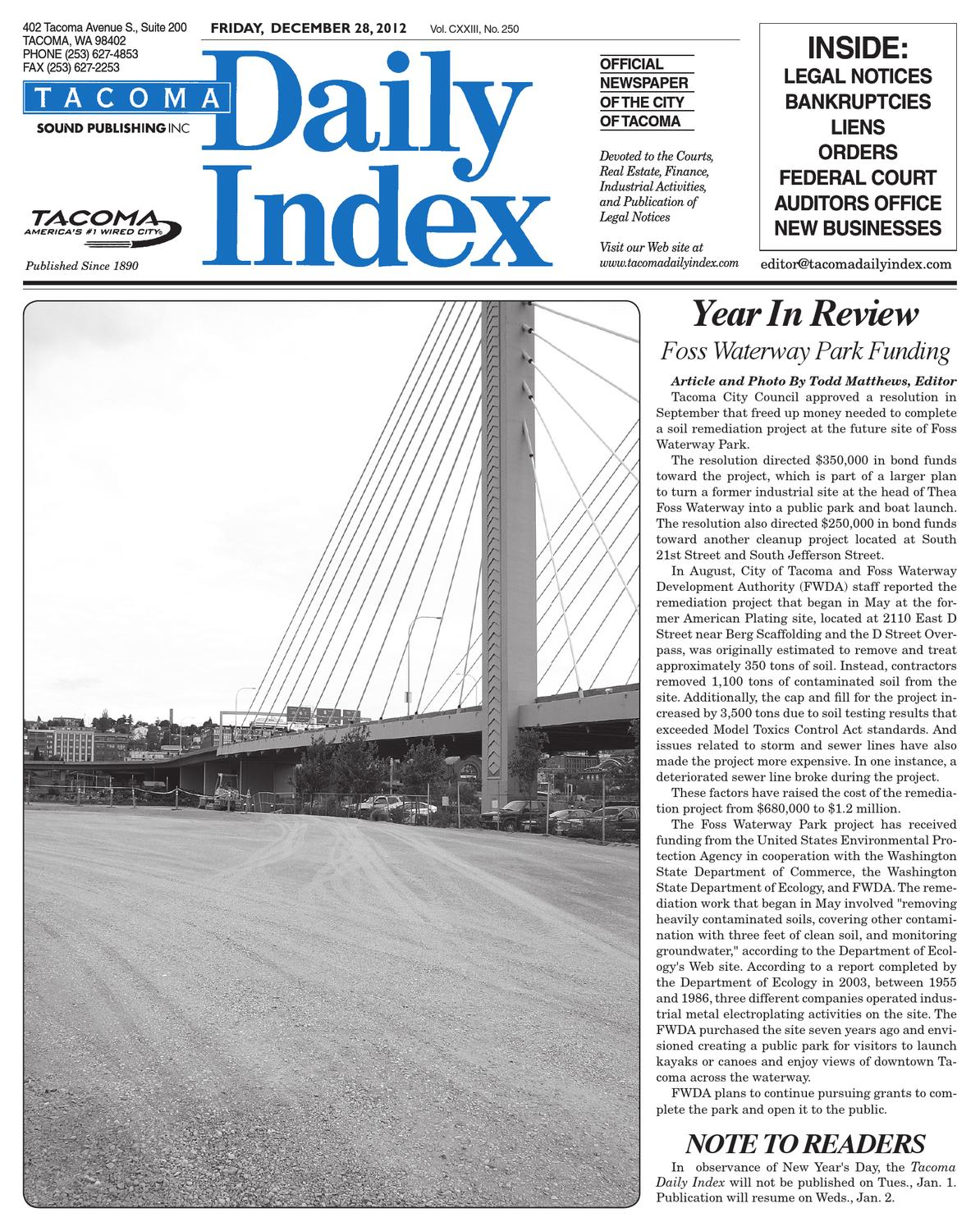 Tacoma Daily Index, December 28, 2012 by Sound Publishing - issuu