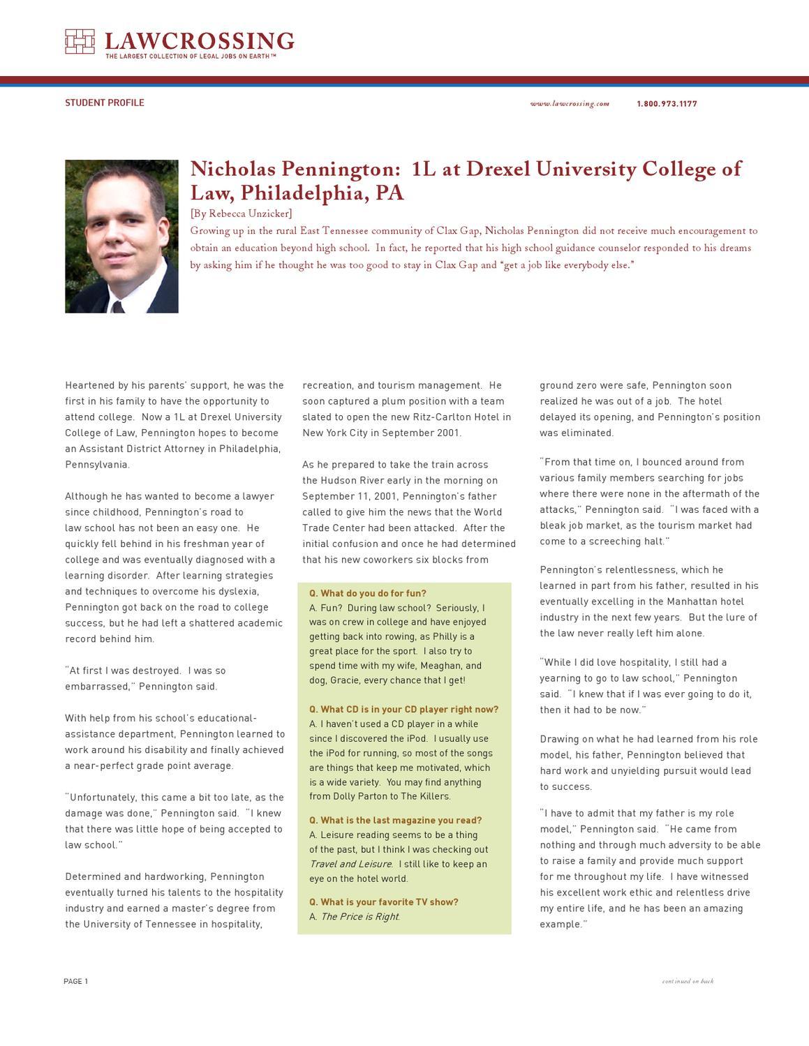 Nicholas Pennington: 1L at Drexel University College of Law