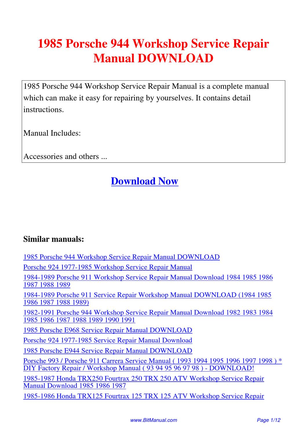 1985 Porsche 944 Workshop Service Repair Manual By Lisa Fu