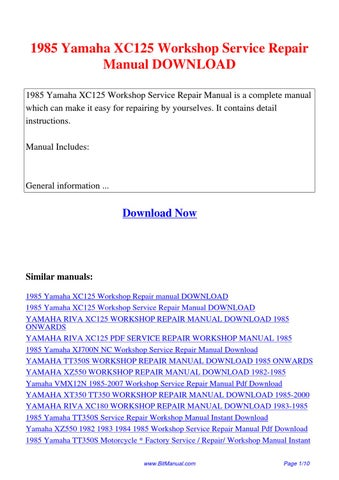 1985 yamaha xc125 workshop service repair manual by lisa. Black Bedroom Furniture Sets. Home Design Ideas