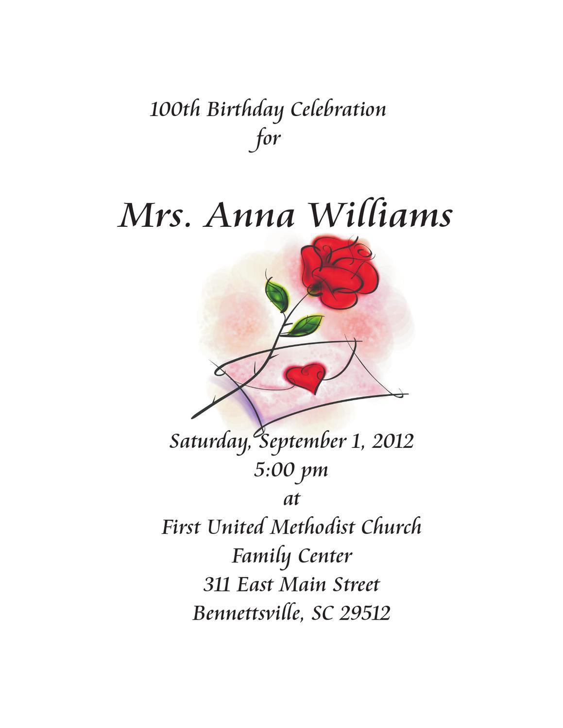 Mrs Anna Williams 100 Birthday Celebration By Cs Designs Issuu