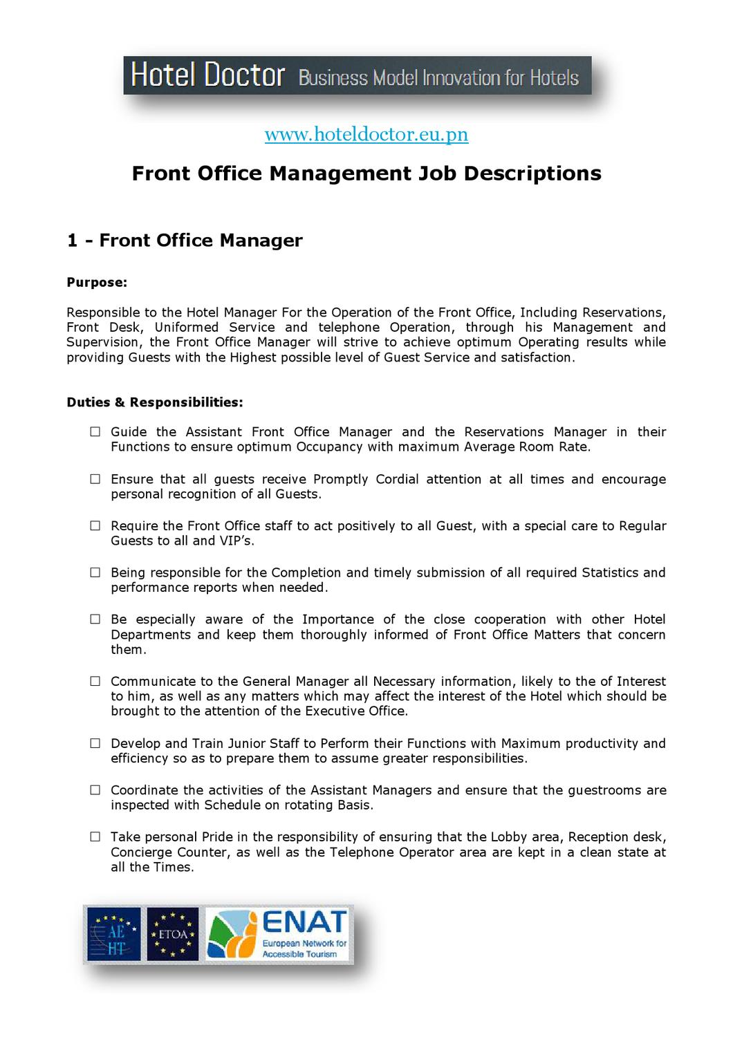 Hotel Front Office Manager Job Description By Daniel Diosi