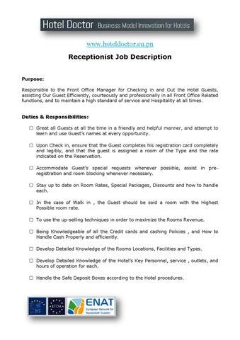 Hotel Receptionist Job Description by Daniel Diosi - issuu