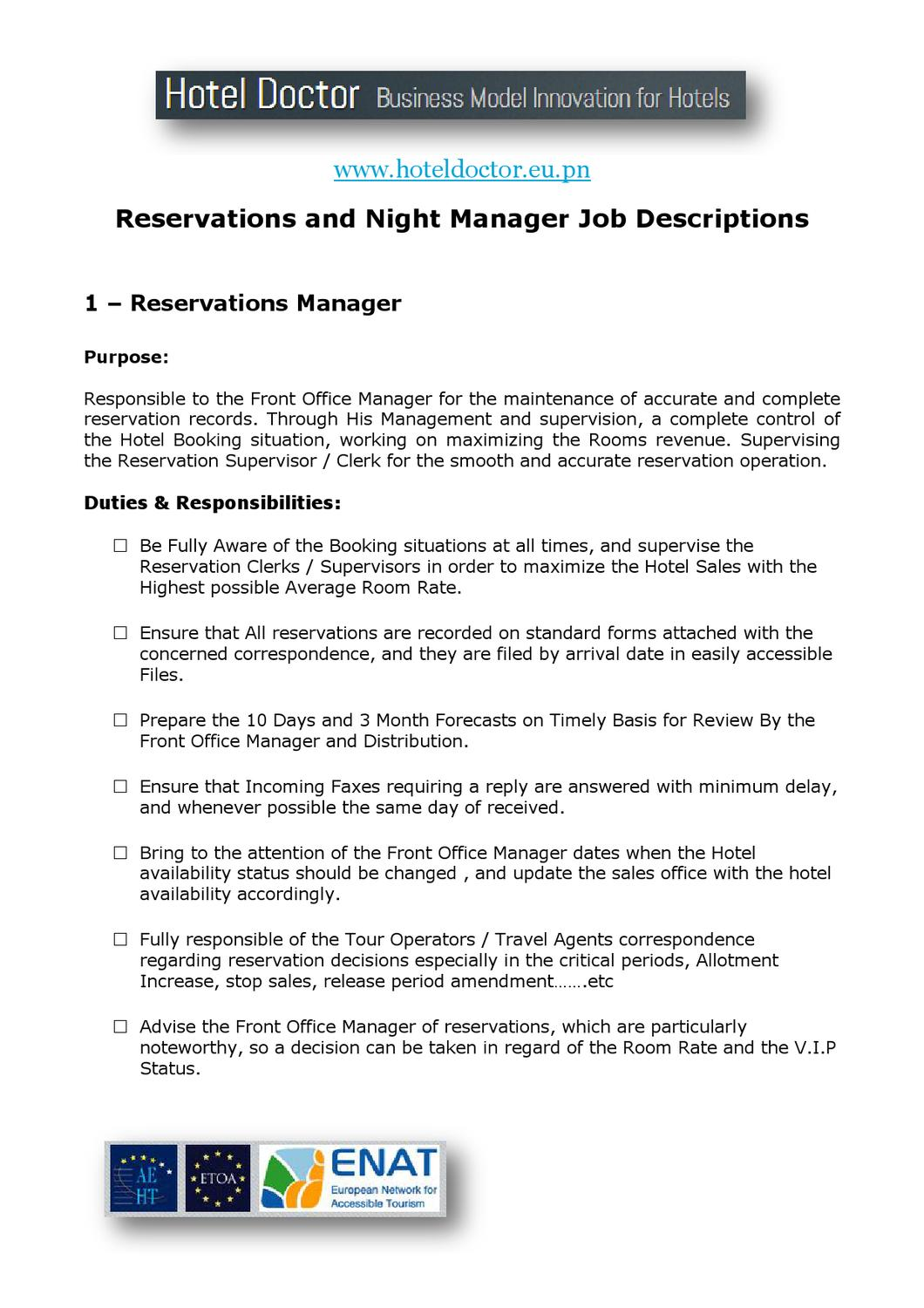 Hotel Reservations and Night Manager Job Description by ...