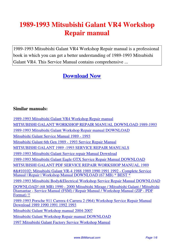 1989-1993_Mitsubishi_Galant_VR4_Workshop_Repair_manual by Lisa Fu - issuu