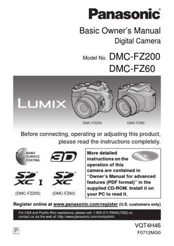 Panasonic LUMIX DMC-FZ200/FZ60 Digital Camera Basic Owner