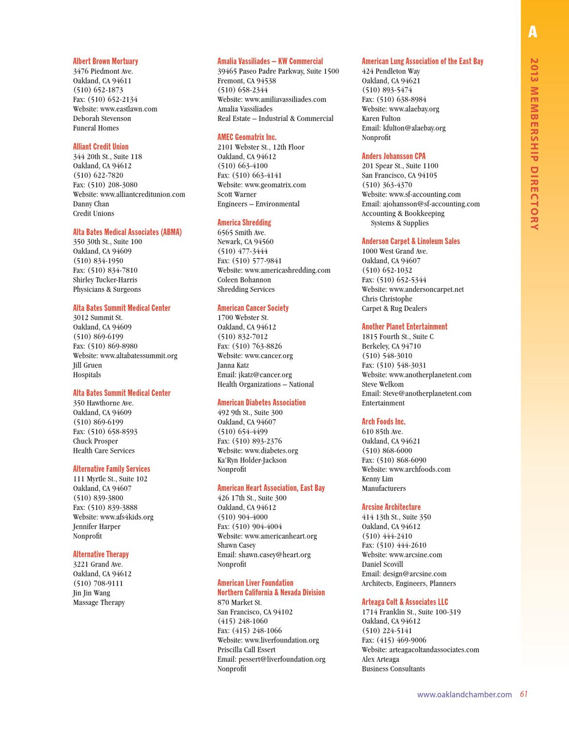 2013 Oakland Chamber of Commerce Membership Directory by