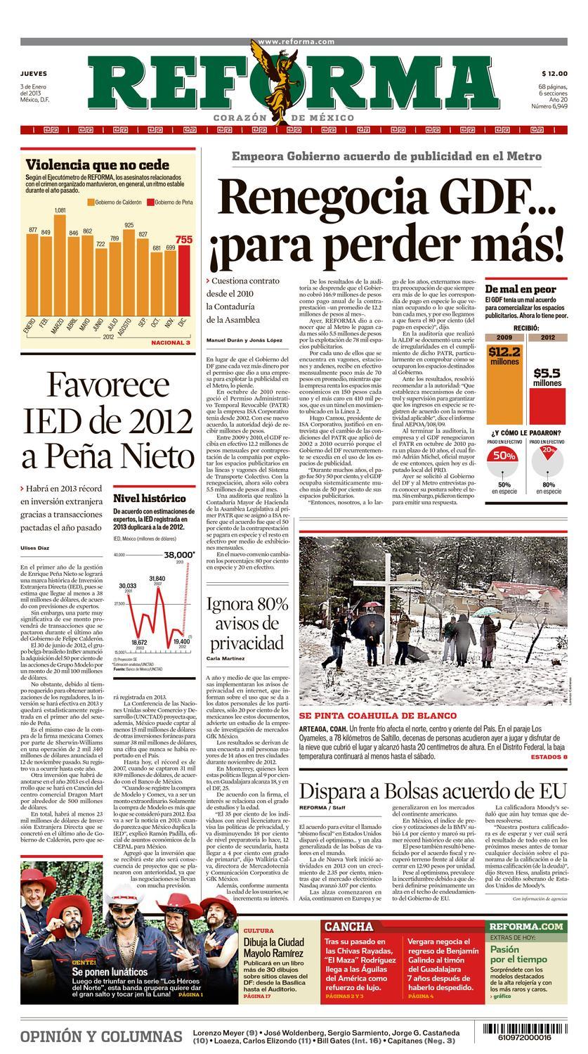 Reforma Jueves 3 De Enero De 2013 By Leslee Oscar Figueroa  # Muebles Dago Iztapalapa