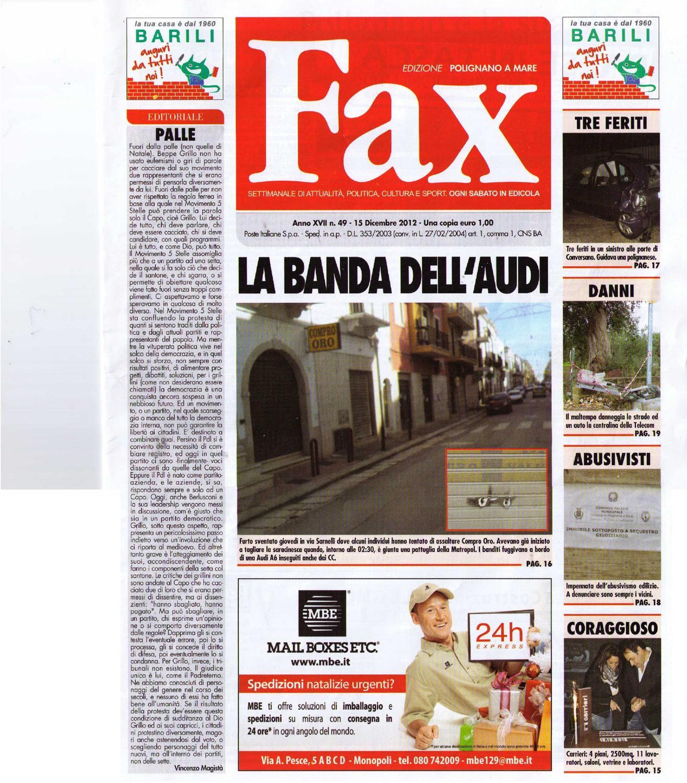 Editoriale Fax 15 Dicembre 2012 n  49 by Polignano