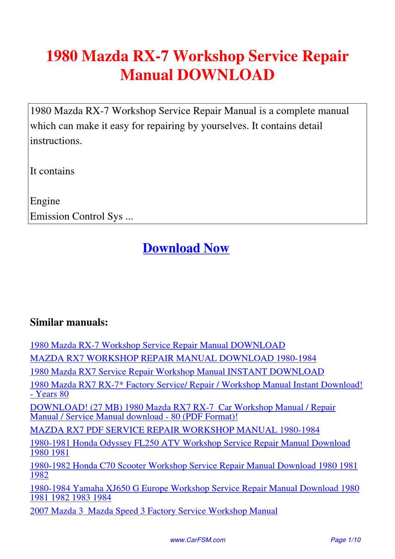 1980 Mazda Rx 7 Workshop Service Repair Manual By Hui border=
