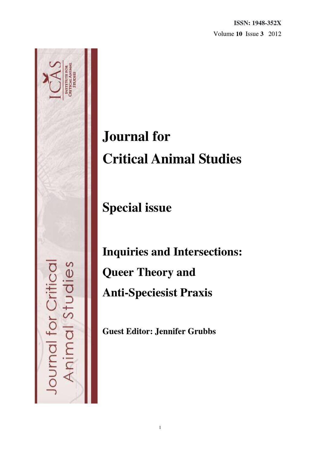 Volume 10 Issue 3 by ICAS Critical Animal Studies - issuu