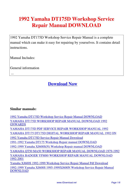 1992 Yamaha Dt175d Workshop Service Repair Manual By Sam