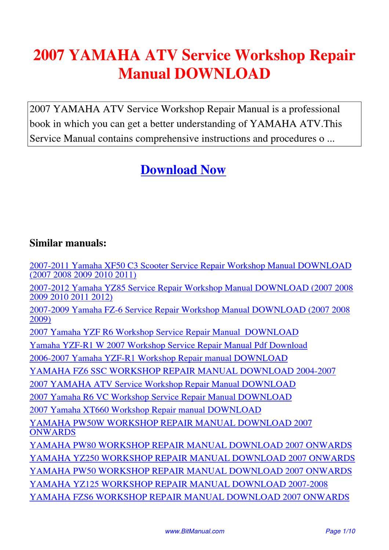 2007 Yamaha Atv Service Workshop Repair Manual By Lisa Fu